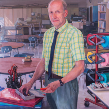 "Art Teacher, Al Coffill, 48"" x 40"" oil on linen"